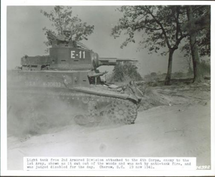 M3 Stuart light tank, from 2AD attached to IV Corps, during maneuvers with First Army, Cheraw, SC, 19 No1941.jpg