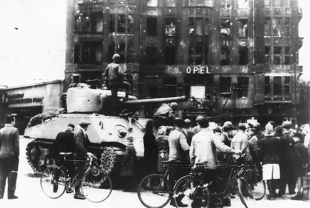 2AD M4 Tank at Opel Hotel in Berlin, Jul 1945.