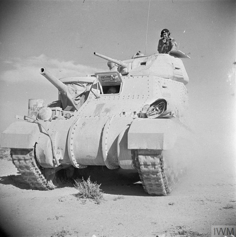 Grant tank advancing in the Western Desert, 18 June 1942.   IWM  photo E 13533