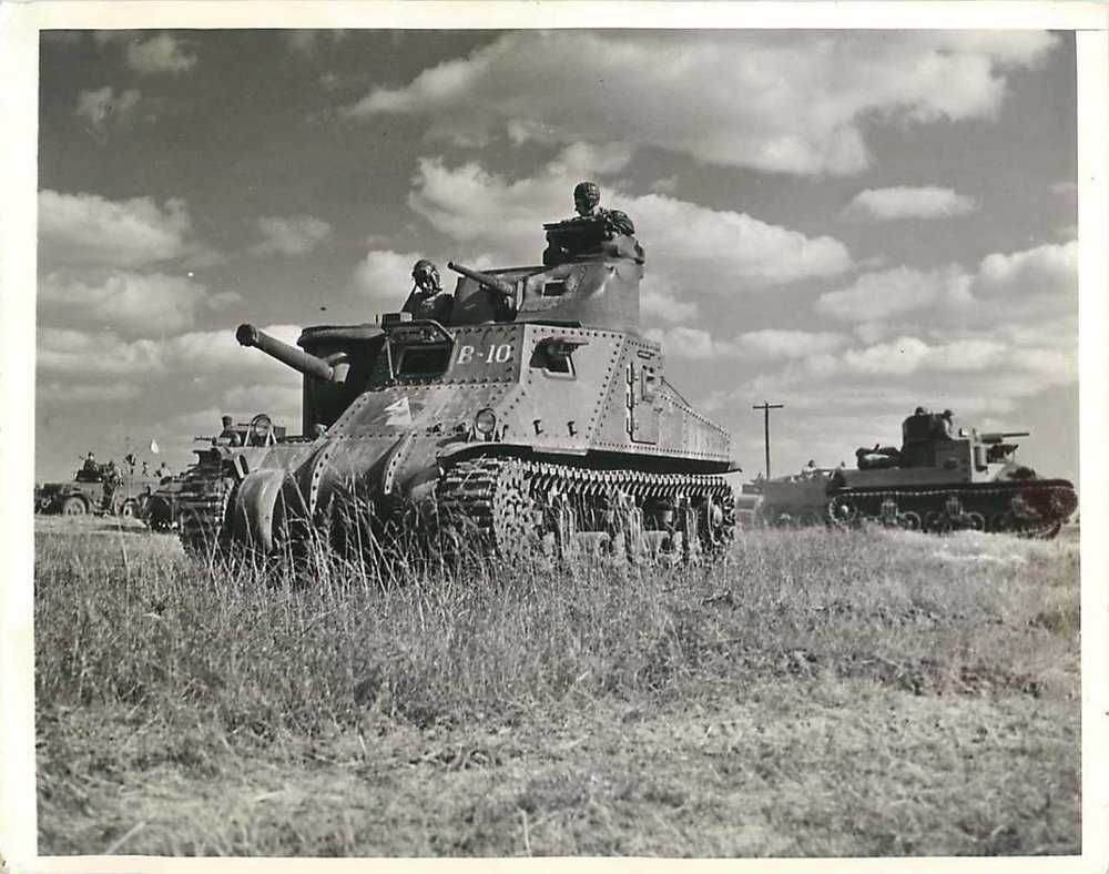 "1st Armored Division M3 Lee ""B-10"" and M2 during 1941 Carolina War Games. 11 Nov 1941."