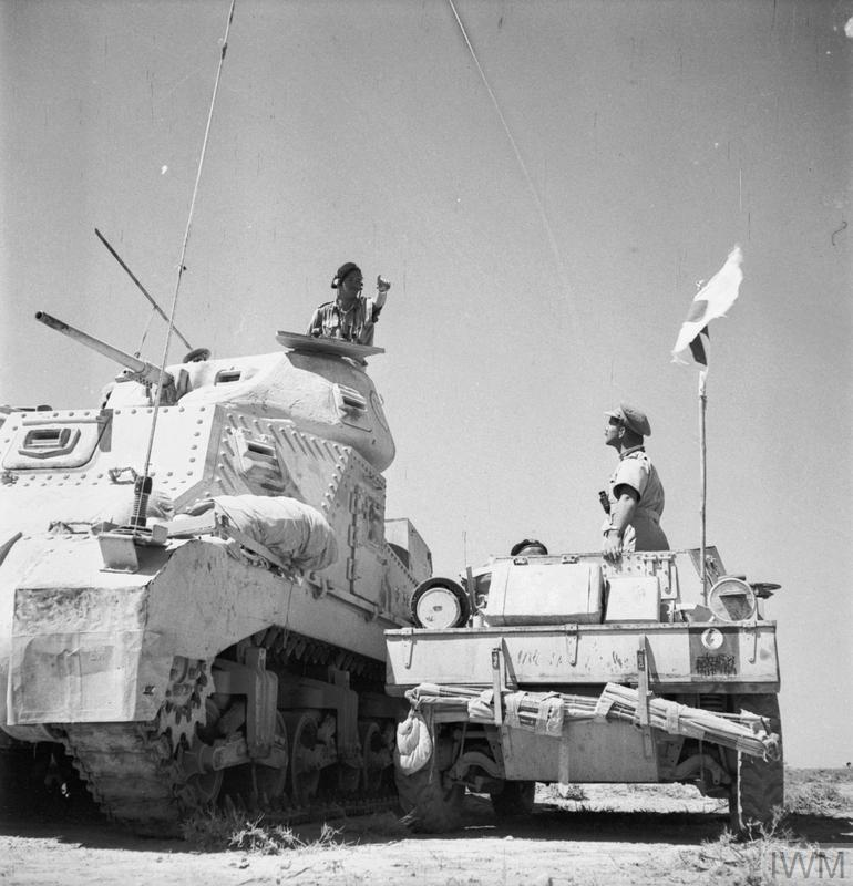 Grant HQ tank and Daimler scout car, Libya, Jun 1942. I  WM photo E 13262