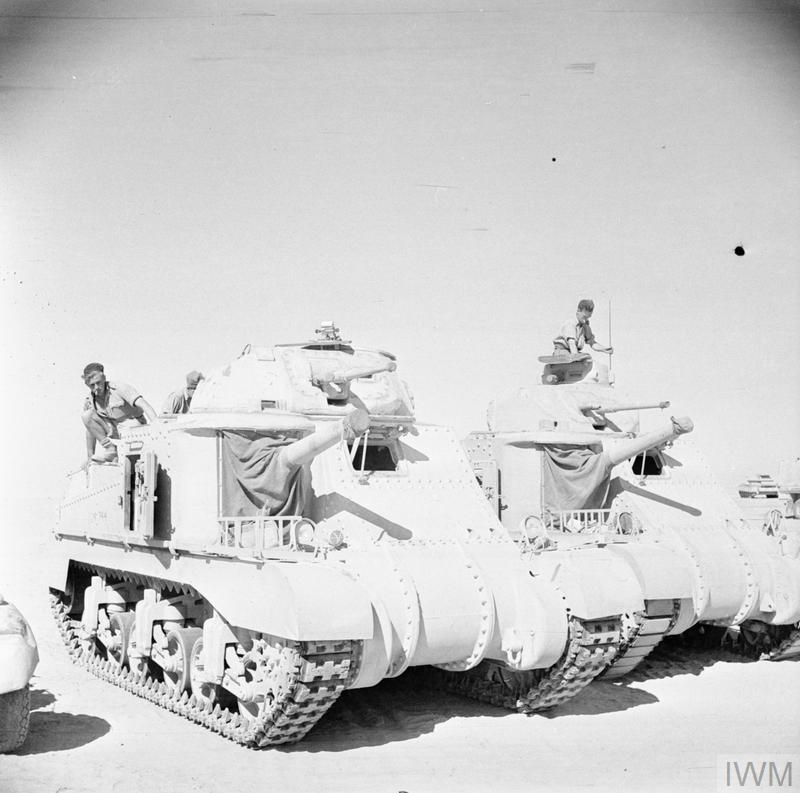 Grant and Lee tanks of 'C' Squadron, 4th (Queen's Own) Hussars, at El Alamein, 7 Jul 1942. IWM photo E 14054