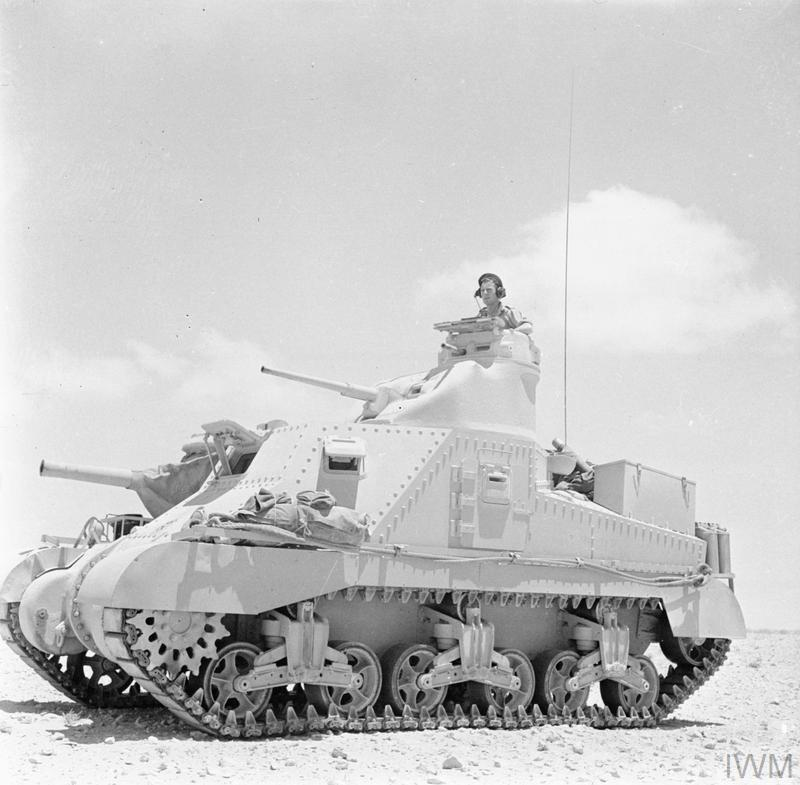 Lee tank of 'C' Squadron, 4th (Queen's Own) Hussars, 2nd Armoured Brigade, El Alamein position, Egypt, 7 Jul 1942. IWM photo E 14050
