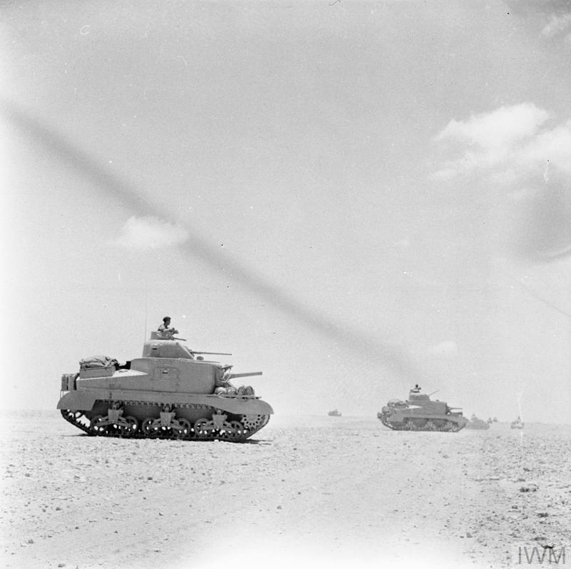 Lee tanks of 'C' Squadron, 4th (Queen's Own) Hussars, 2nd Armoured Brigade, El Alamein position, Egypt, 7 Jul 1942. IWM photo E 14052