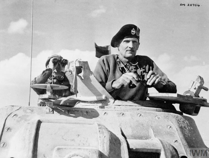 Lieutenant General Bernard Montgomery, commanding the British Eighth Army in North Africa, in the turret of his Grant command tank at El Alamein, 5 Nov 1942. IWM photo E 18980