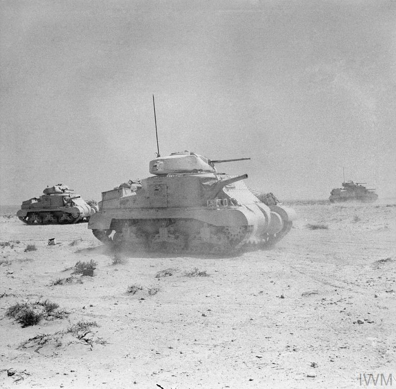 Grant tanks training in Libya, 4 Jun 1942. IWM photo E 12860