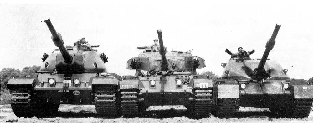 From left to right: Conqueror MK.II, Centurion MK.7, Chieftain prototype.