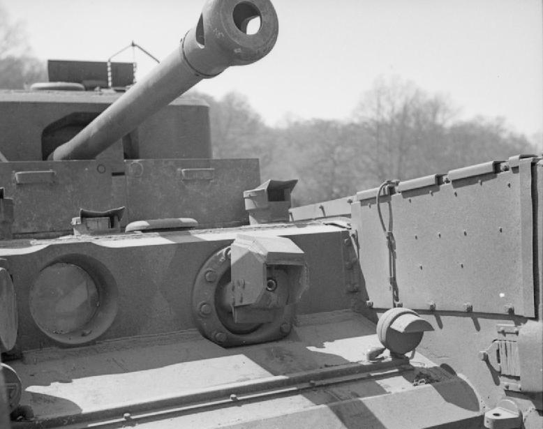 Flame projector on a Crocodile tank, photographed during trials in Apr 1944. IMW photo H 37937.