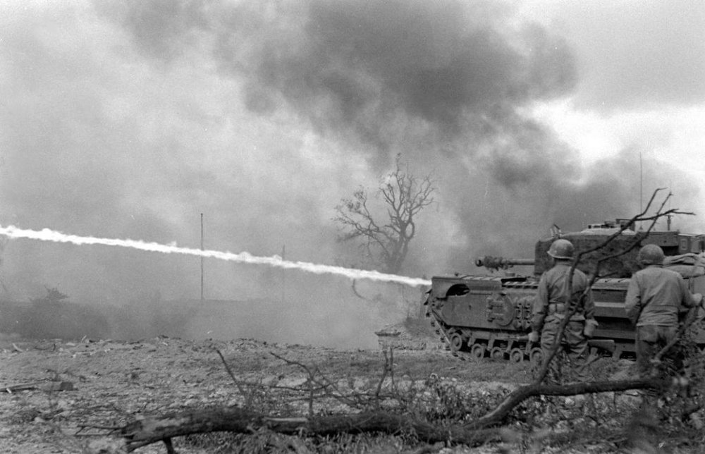 Churchill Crocodile in action near Fort Montbarey.Brest, France, Sep 1944. Pic #1.