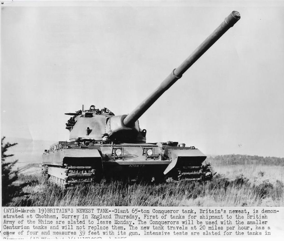 1955 British Conqueror Heavy Tank Chobham, Surray, England, Original News Wirephoto