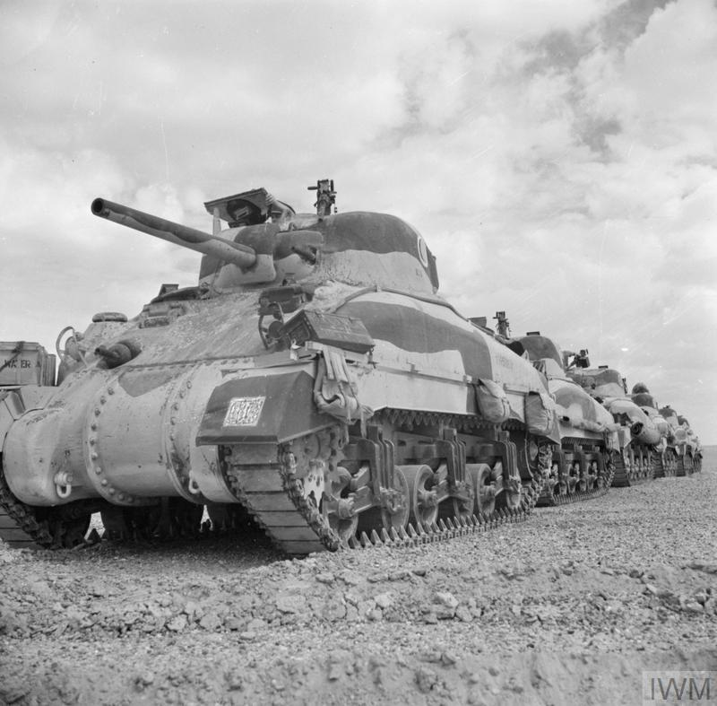 Sherman tanks of The Queen's Bays (2nd Dragoon Guards), 1st Armoured Division. El Alamein, 24 Oct 1942. IWM photo E 18377.