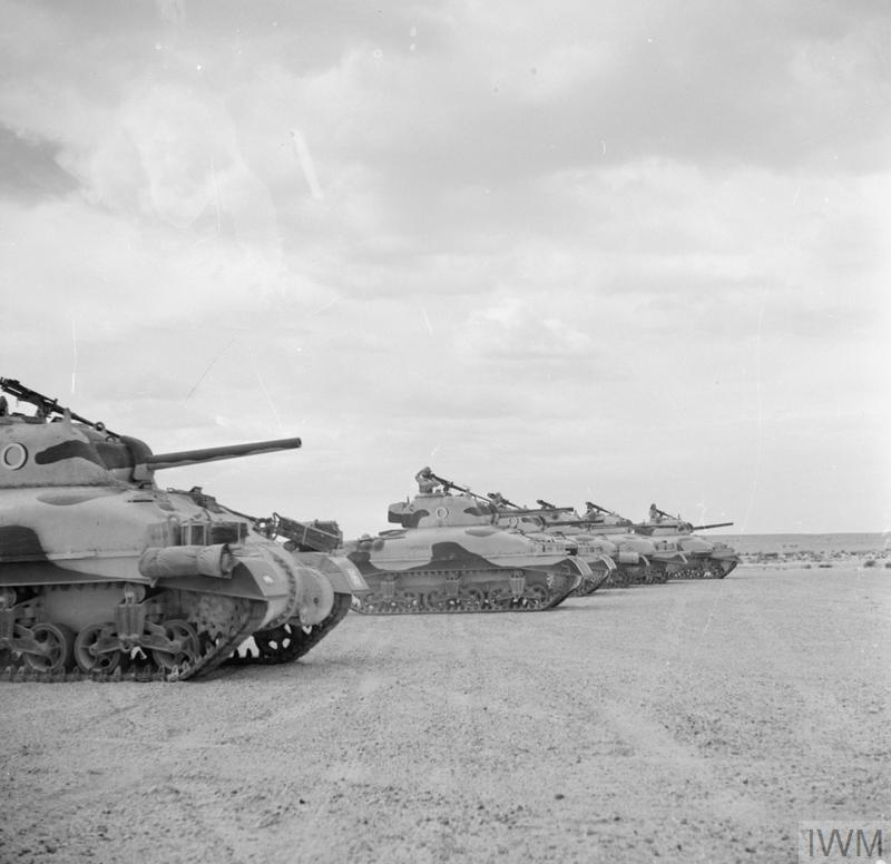 Sherman tanks of The Queen's Bays (2nd Dragoon Guards), 1st Armoured Division. El Alamein, 24 Oct 1942. IWM photo E 18379.