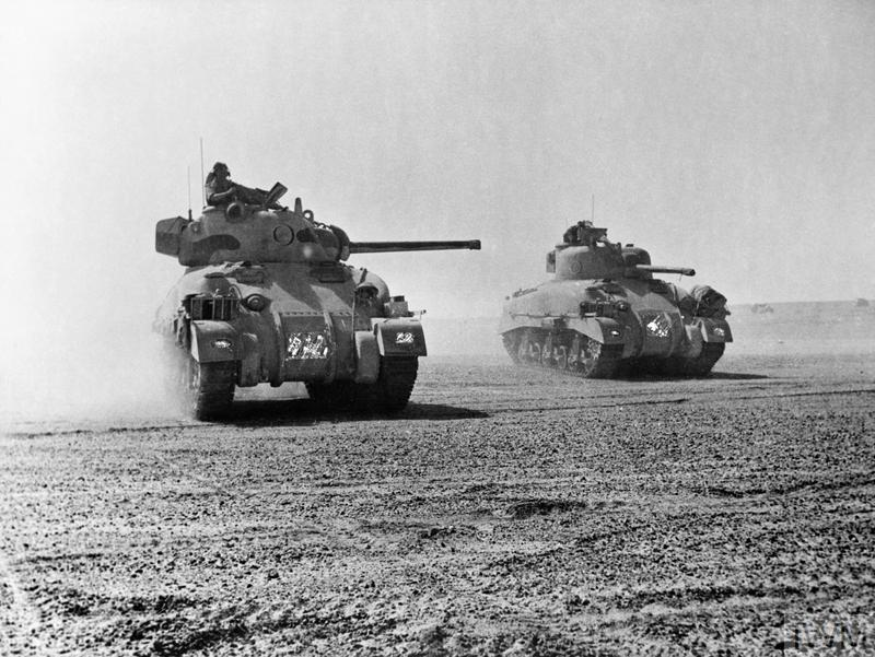 Sherman tanks of 'C' Squadron, 9th Queen's Royal Lancers, 2nd Armoured Brigade, 1st Armoured Division, 5 Nov 1942. IWM photo E 18972.