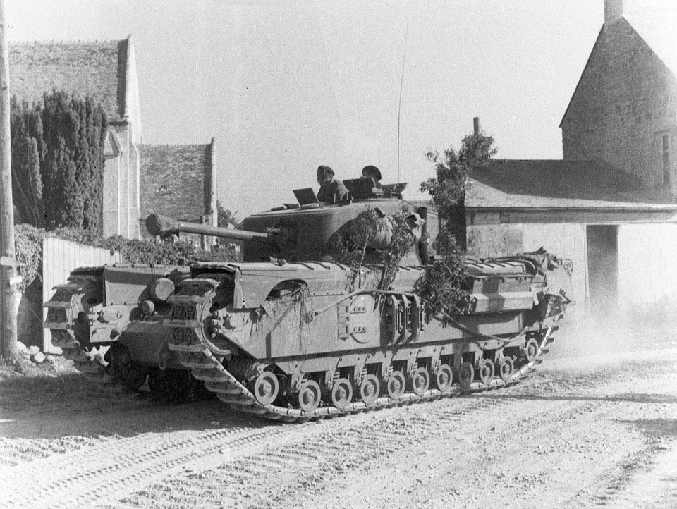 Churchill tank of 3rd/4th County of London Yeomanry, North West Europe, 1944. National Army Museum photo 1975-03-63-19-51.