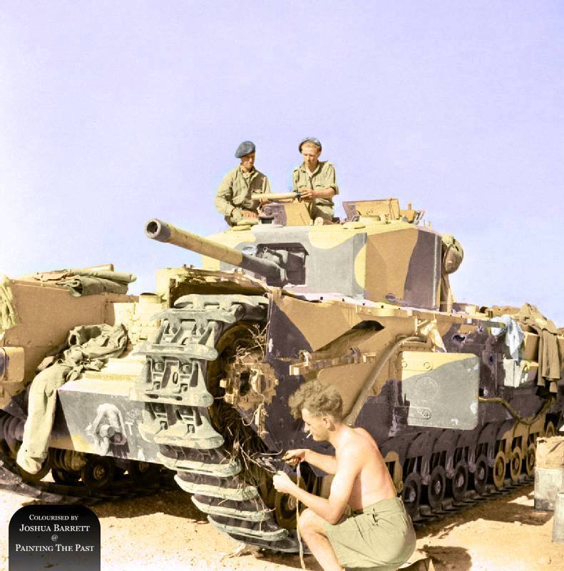 Churchill III tank of 'Kingforce' during a break of conflict, the Second Battle of El Alamein, 6 Nov 1942.