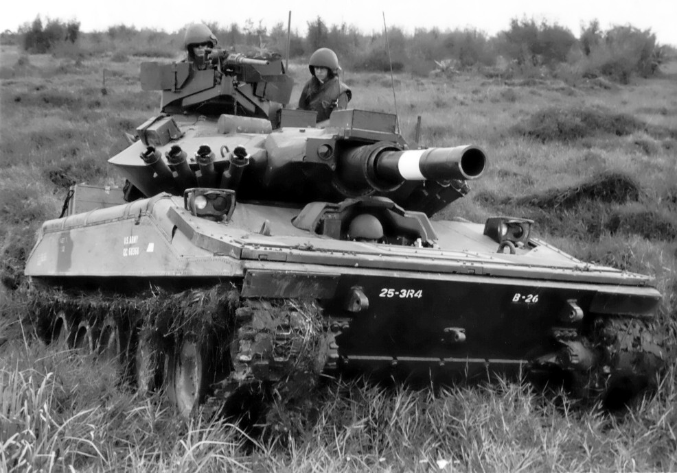 M551 SHERIDAN, 3rd REC SQN, 4th CAV, 25th INF DIV (Note belly armor applique). US ARMY photo.