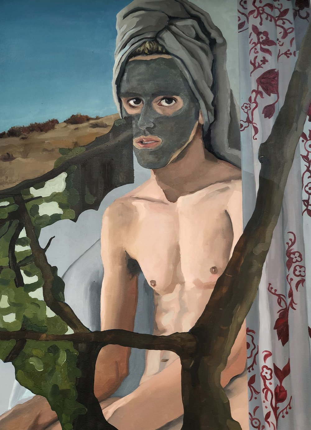 Rudy Grazziani    Man with Mask,  2018  Oil on Canvas, 2ft x 4ft