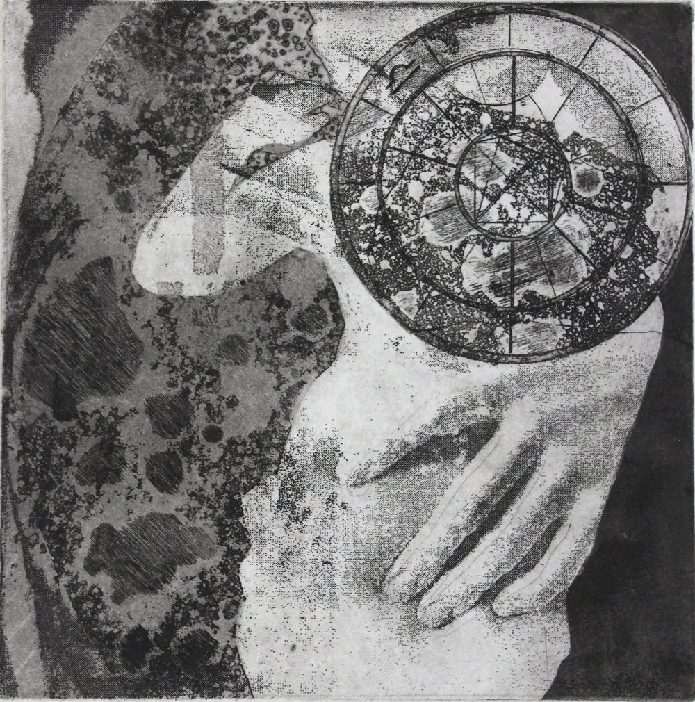 Depression  Artist- Kristy Castellano  2015, 8 x 8 inches  intaglio on paper