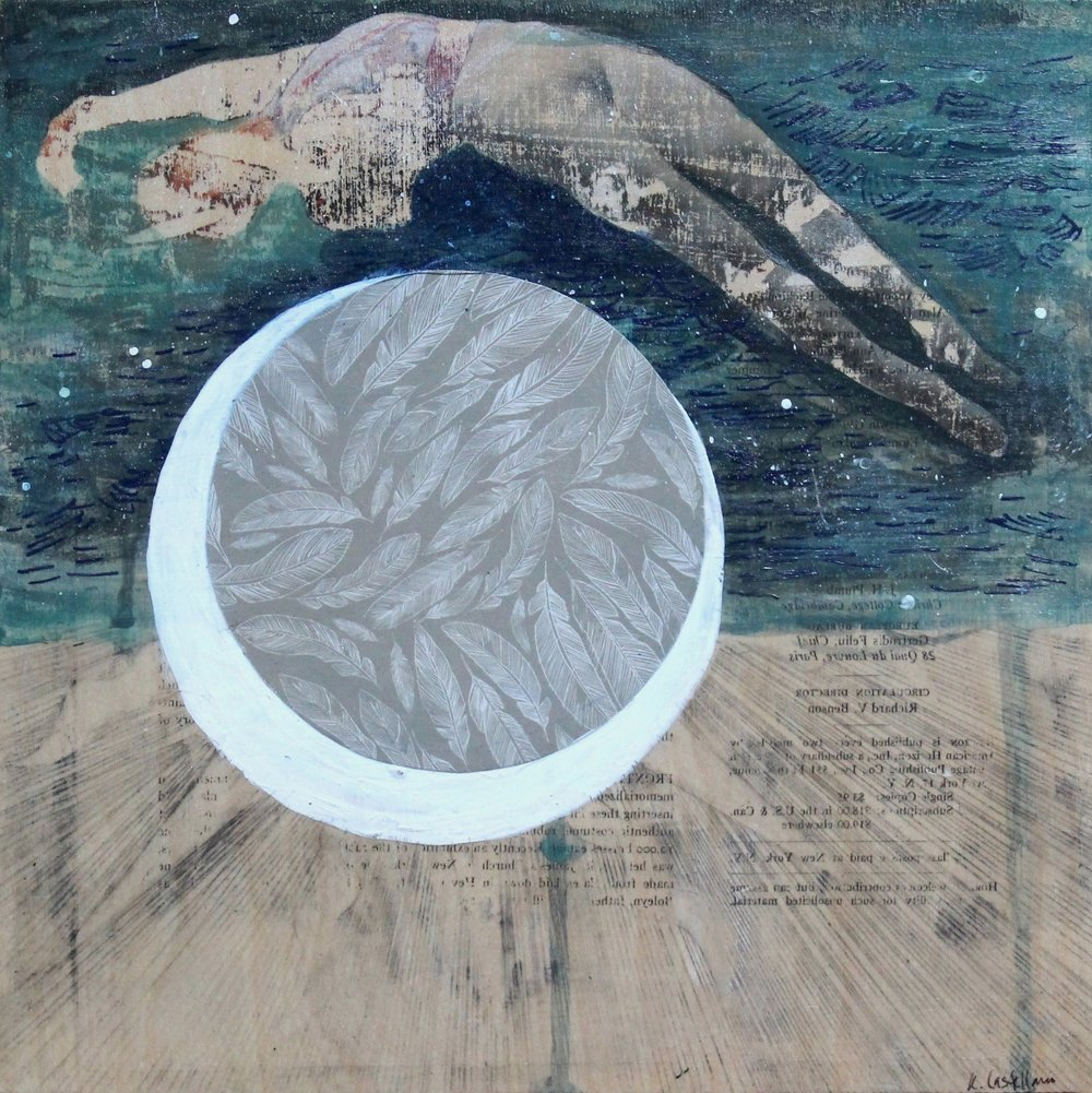 Icarus  Artist- Kristy Castellano  10 x 10 inches  acrylic, graphite, ink and mixed media on wood panel