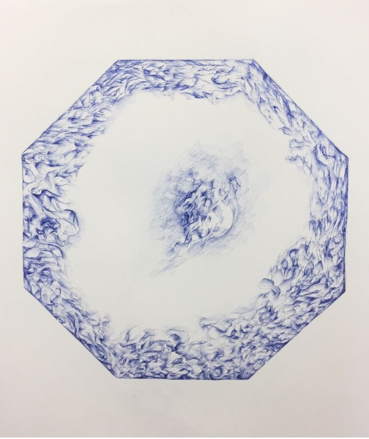 "Ming Dynasty Blue   24 x 22.5""  blue ballpoint pen"