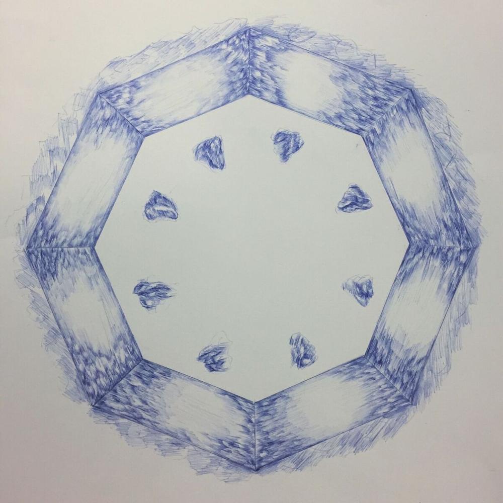 "Test Tiles   20 x 20""  blue ballpoint pen"
