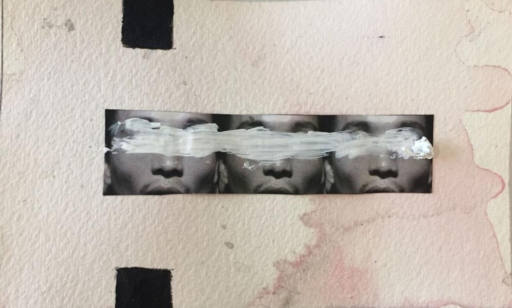 "Neo Cultural Tech Tech   3.25 x 5.5""  water color, gesso, mixed media"