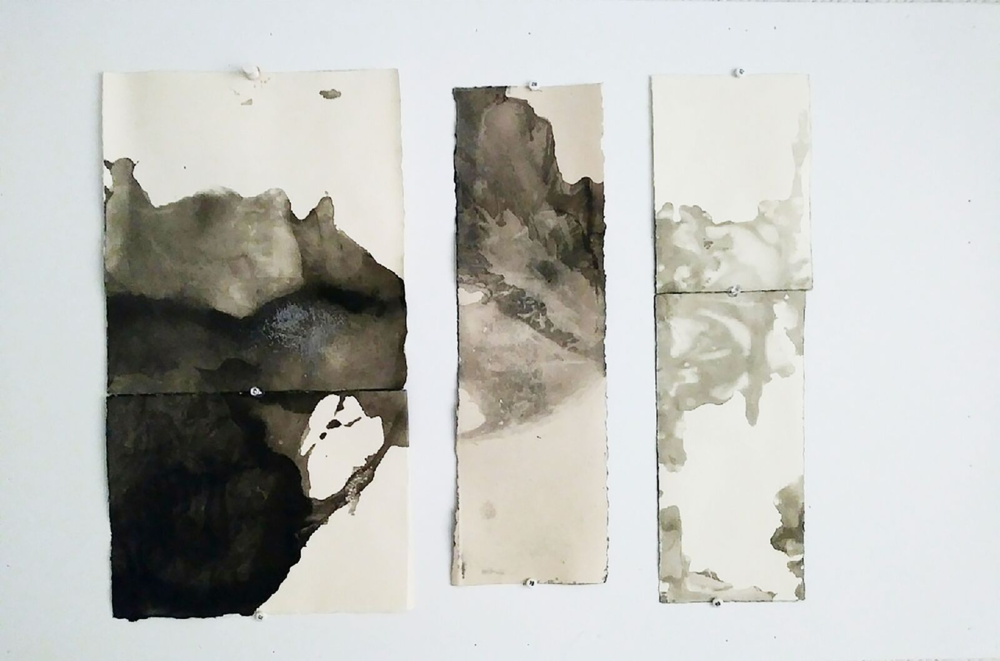 "Ma'anshan Reflect    15 x 8.5""  Ink and sea salt on BFK paper"