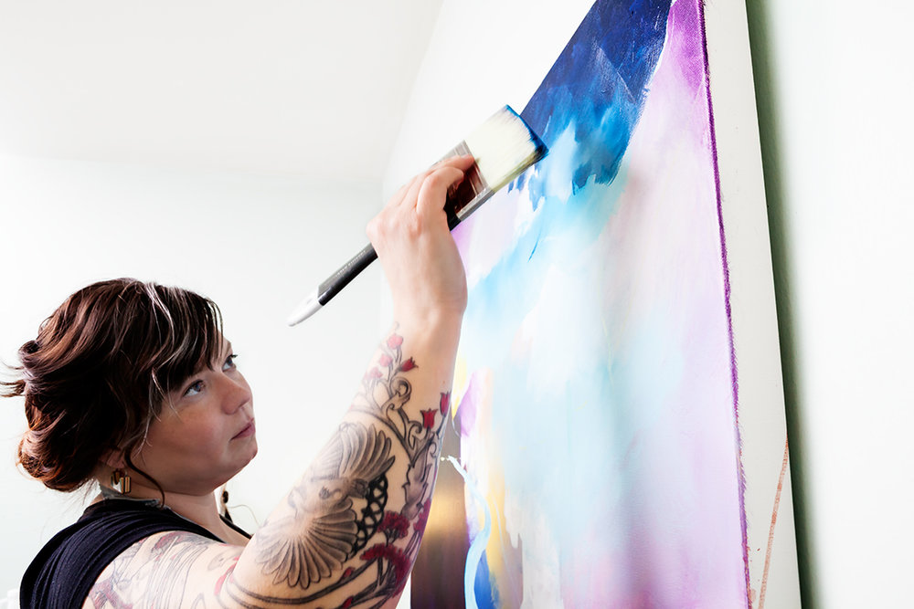 Niki painting at Berkeley St. studio