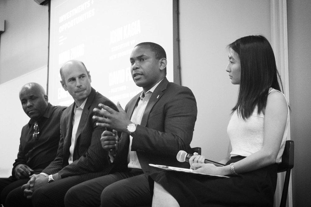 Earl Patton (Africa Tech Fund),David Feuerstein (Feuerstein Kulick LLP), John Kagia (New Frontier Data), Mona Zhang (Word on the Tree)