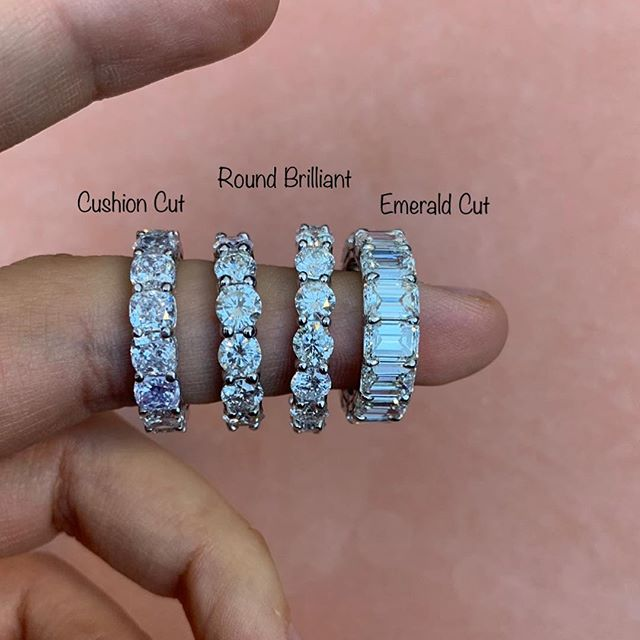 As promised- Bands from left to right , Cushion cut (0.25pts), Round Brilliant cut (0.25pts) Round Brilliant cut (0.15pts) And Emerald cut (0.50pts) Here set in Platinum and White gold.  #daniellezinojewelry #nyc . . . . . . . . . #jewellery #jewelrydesigner #fashion #jewelrydesign #follow #jewelry #jewelryaddict #beautiful #happy #gold #diamond #amazing #style #weddingband #smile #luxury #classy #ring #bling #engagementring #proposal #shine