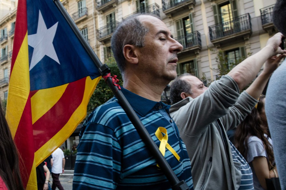 Catalan independence supporter during a demonstration of an estimated 450,000 people.