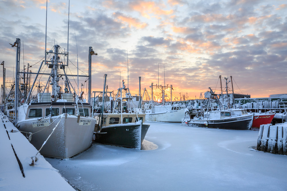 Sunrise over the fishing boats. - New Bedford, MA