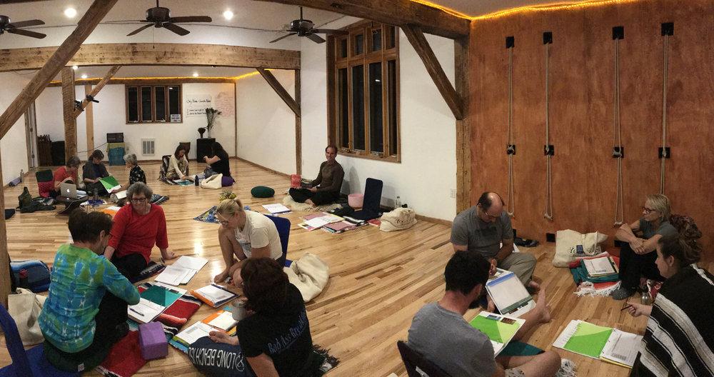 Classroom session at Yoga Farm