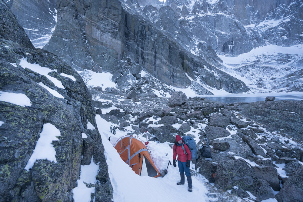 Winter camping in Colorado's Rocky Mountain National Park.  Chasm Lake, Colorado