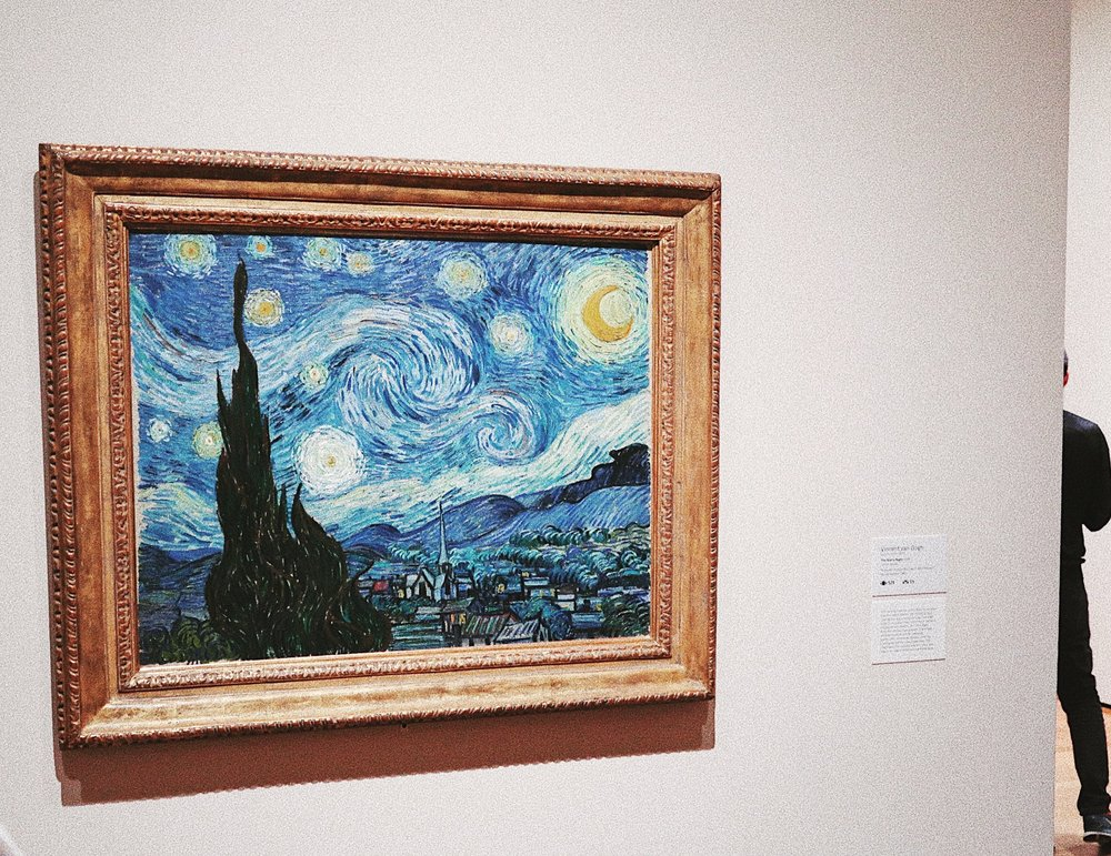 """The Starry Night by Vincent Van Gogh  - One of the world's most famous paintings. Fun fact: """"One of the reasons behind the paintings fame is because it conveys strong feelings of hope through the bright lights of the stars shining down over the dark landscape at night."""""""