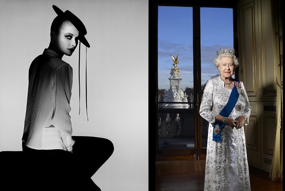 «Marianne Lah Swannell 1980» og «HM The Queen 2012» av John Swannell