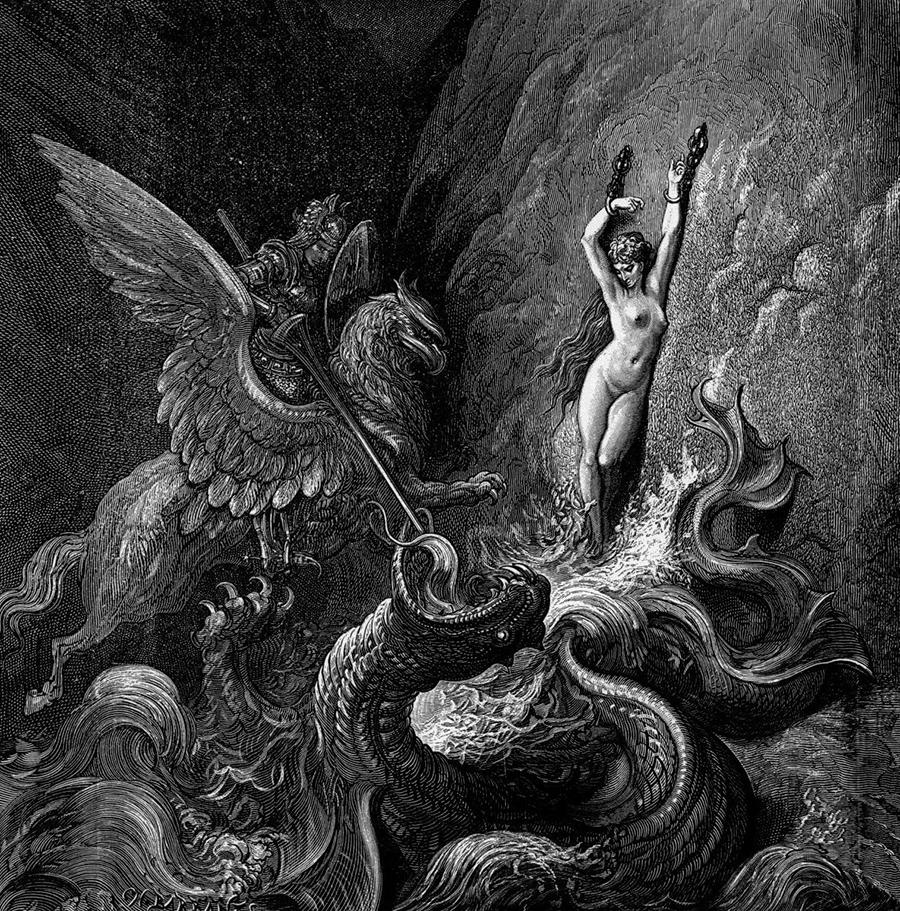 «Ruggiero rescues Angelica» av Gustave Doré