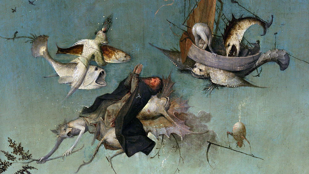 Den hellige Antonius' fristelser  (detalj fra venstre panel) av Hieronymus Bosch