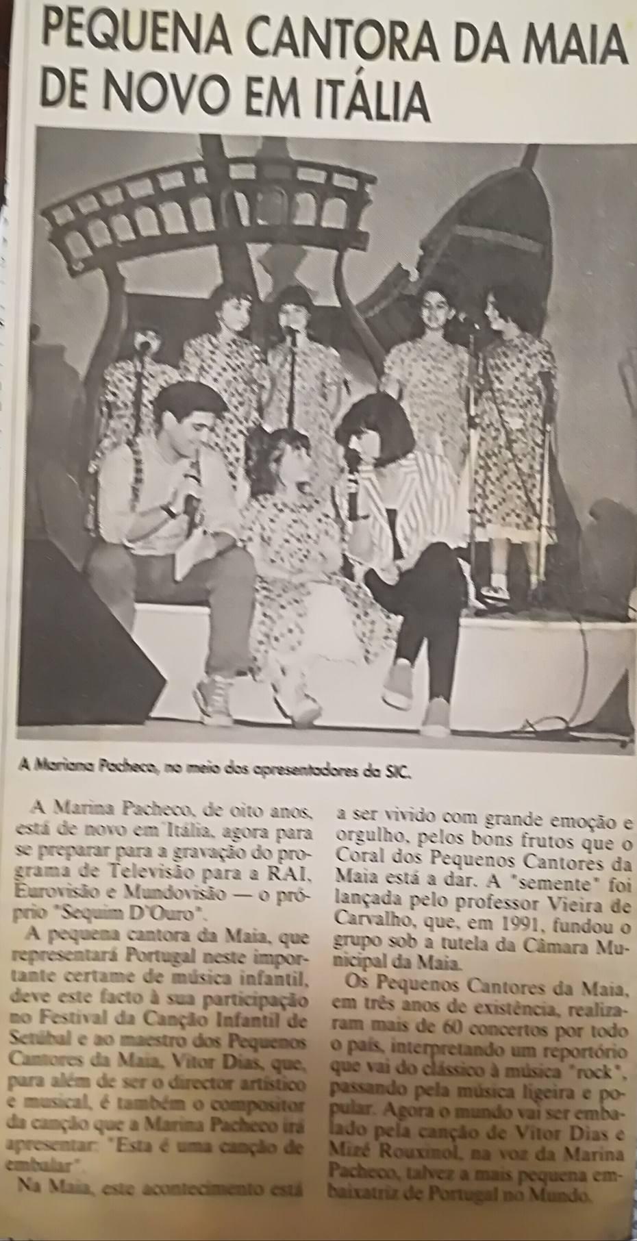 """""""Pequena Cantora da Maia de novo em Itália"""" in Jornal de Notícias"""