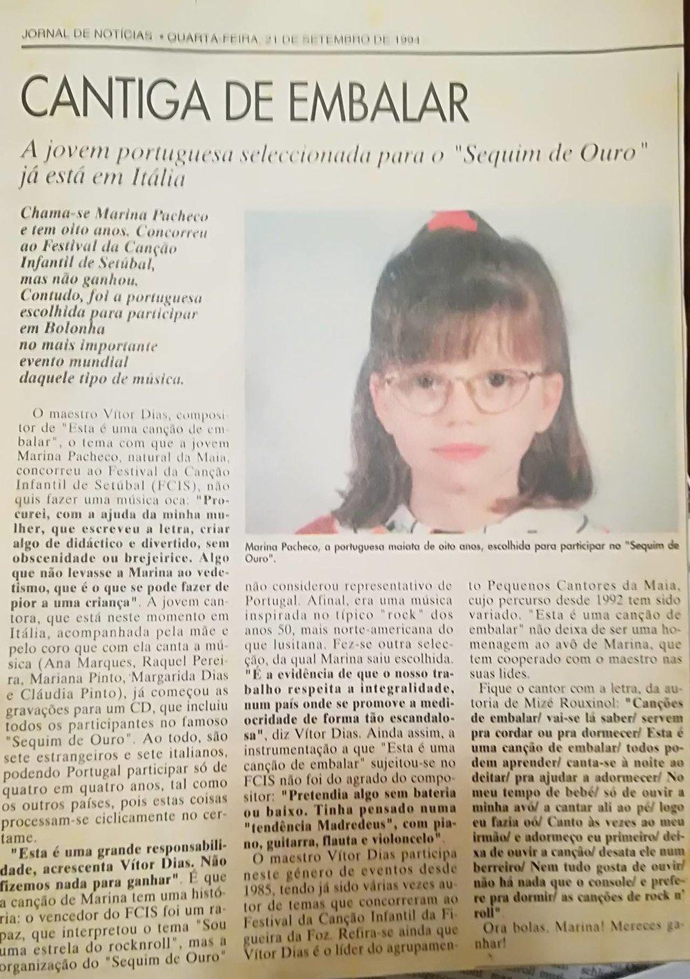 """Cantiga de Embalar"" in Jornal de Notícias"