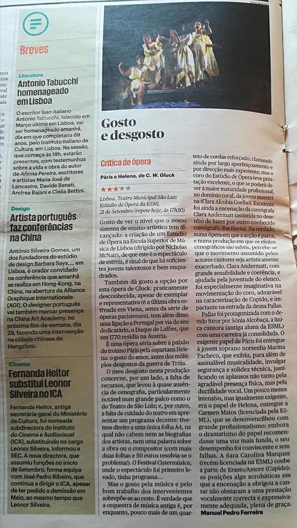 """""""Gosto e Desgosto"""" by Manuel Pedro Ferreira in Público"""