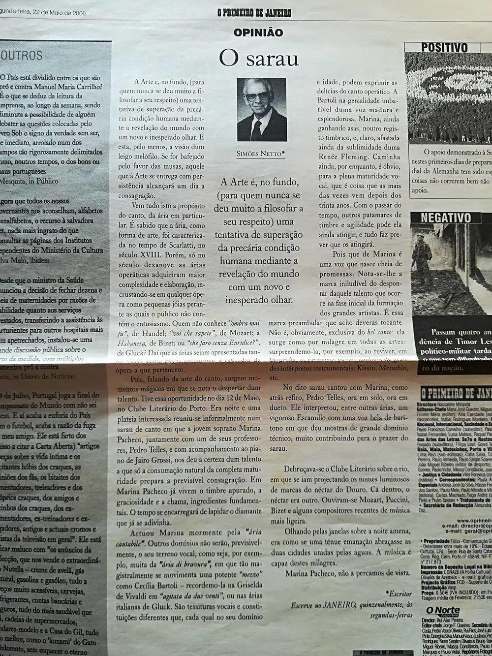 """""""O Sarau"""" por Simões Netto in O Primeiro de Janeiro"""