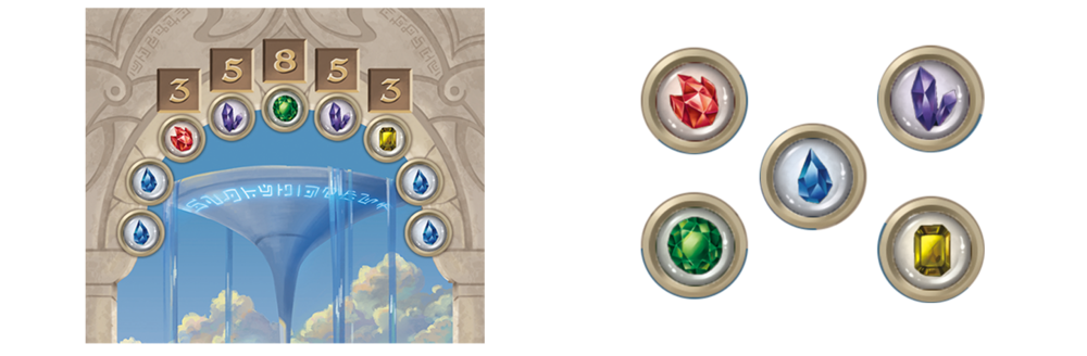 Example of how we're looking to make the game colorblind friendly. Color pips would be swapped out for Icons and we'd include punchboard tokens as an alternative component.