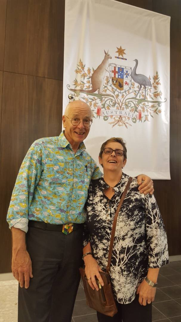 Jan Hanging out with dr Karl Kruszelnicki and comparing loud shirts