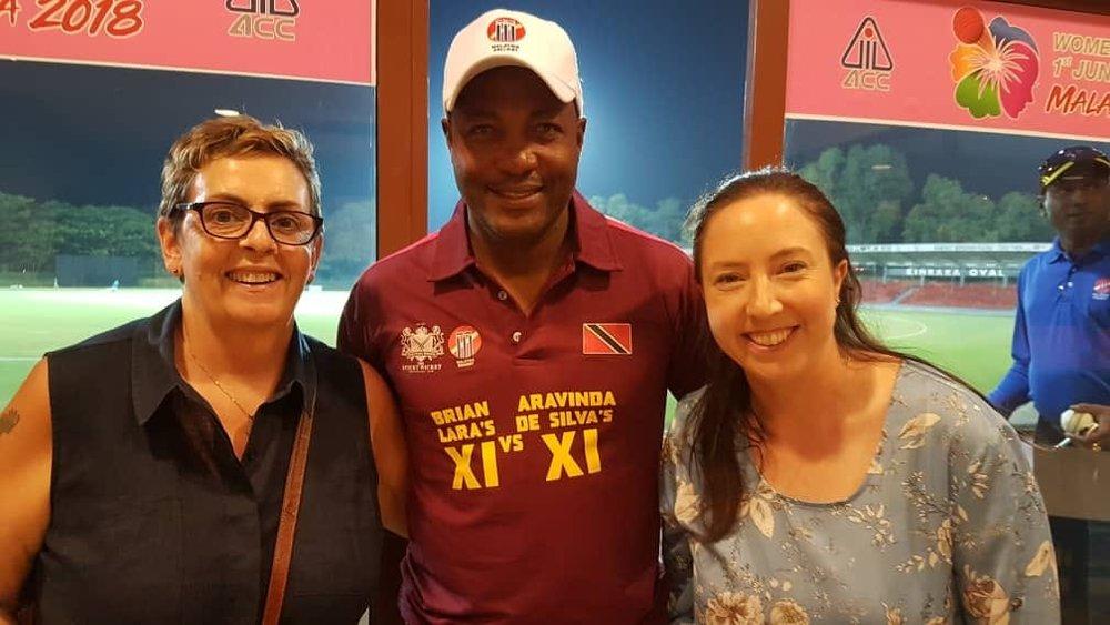 Jan and GEP Student Cassie Bodie meet west indian cricket legend, Brian lara
