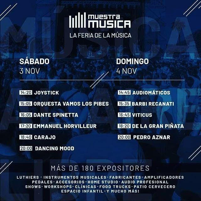 👾 Increíble lineup para este finde en @muestramusica!!! Te esperamos en el stand #7️⃣2️⃣ #muestramusica2018 #music #rocknacional #stereo #twoear