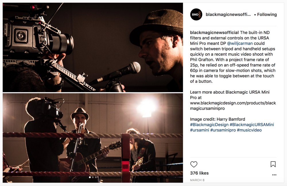 I had a small feature on  Blackmagic's instagram page , sharing my experience with their Ursa Mini Pro and what features I enjoyed the most.