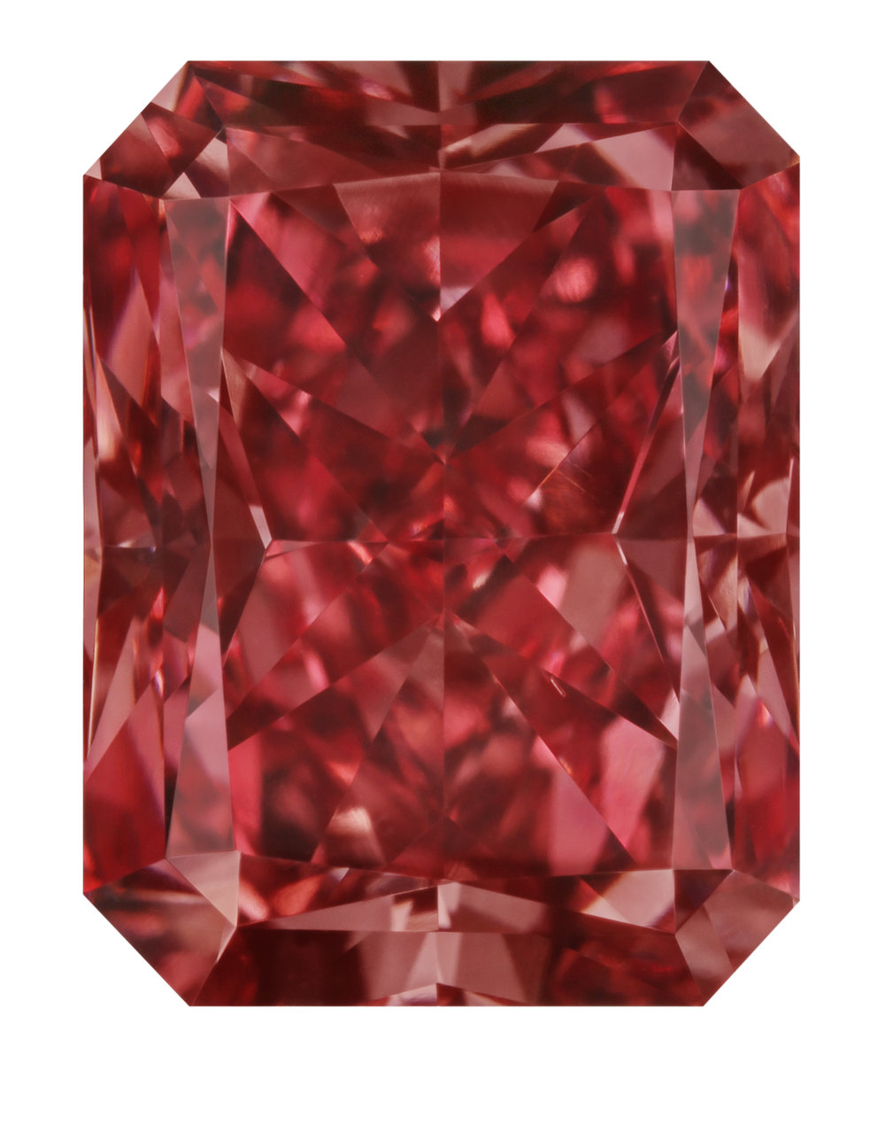 The Argyle Everglow™, a 2.11 carat polished radiant cut Fancy Red diamond. PHOTO: Copyright © 2017 Argyle Diamonds Limited