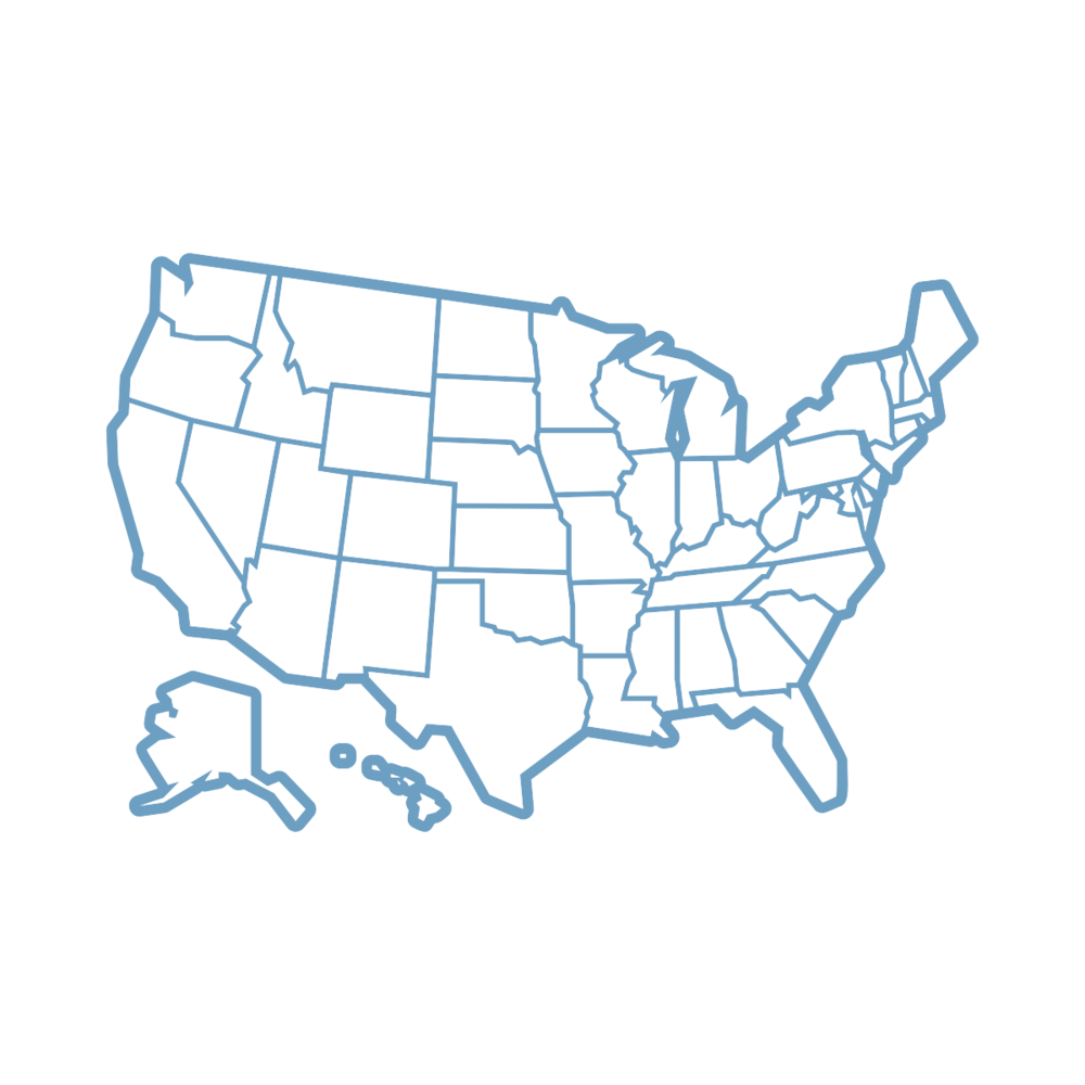 United States map outline in light blue