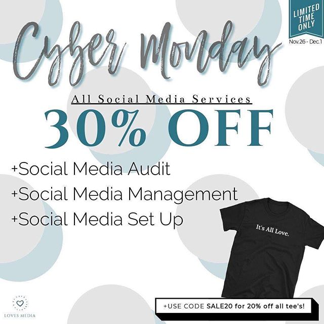 I decided to open my books early for 2019! The good news is... ALL SOCIAL MEDIA SERVICES are 30% off if you get started this week. I'm excited to see what amazing clients I'll be working with in 2019! Visit LovesMedia.co for packages and prices. (P.S. I threw in a discount code for all our tee's online! Use SALE20 for 20% off 💜)